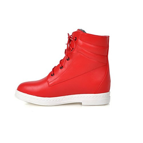 Low Lace top Low up PU Heels Allhqfashion Women's Boots Red Solid wEZtxqw0X