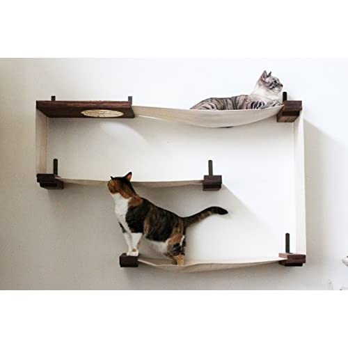 New CatastrophiCreations Fabric Cat Maze   Multiple Level Hammock Lounger    Handcrafted Wall Mounted