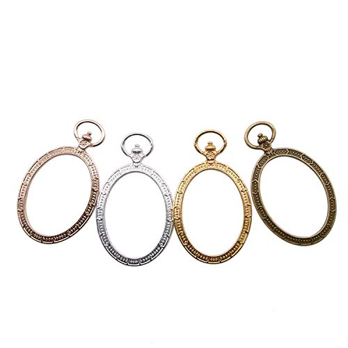 JETEHO 20pcs 4 Colors Oval Open Back Bezel Pendant with 1 Loop - Alloy Open Back Charms UV Frame for Resin, Polymer(Bronze, Gold, Rose Gold and Silver) ()