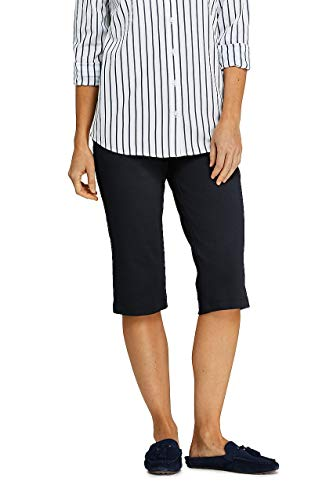 Lands' End Women's Sport Knit Elastic Waist Pull On Capri Pants - Travel Knit Cropped Pants
