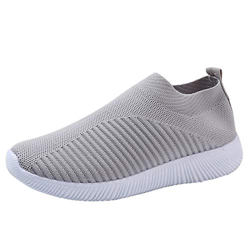 Women's Fashion Sneakers Loafers Mesh Lightweight Breathable Sport Shoe Athletic Running Walking Shoes Gray ()