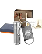 PIPITA Cigar Lighter with Cigar Cutter Gift Set, Windproof Triple 3 Jet Torch Lighter Red Flame Refillable Butane Lighter with Punch, Gift Package Box Bag and Greeting Card Set
