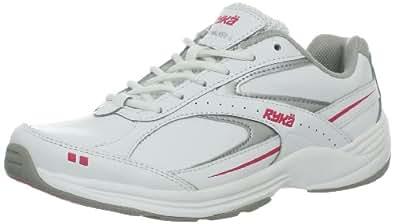 Ryka Women's Comfort Leather Walking Shoe, White/Chrome Silver/Hot Pink, 6 W US