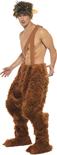 Smiffy's Men's Pan Costume Trousers Shoe Covers and Wig, Brown, (Satyr Costume)