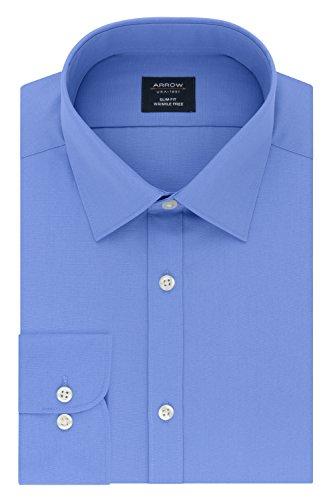 Arrow Men's Dress Shirt Poplin Slim Fit Spread Collar, Corn Flower, 17-17.5'' Neck 34-35'' Sleeve by Arrow 1851