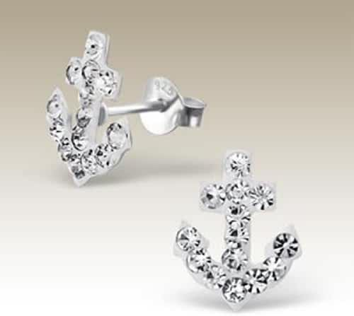 Sterling Silver Anchor Stud Earrings White Crystal (E16789)