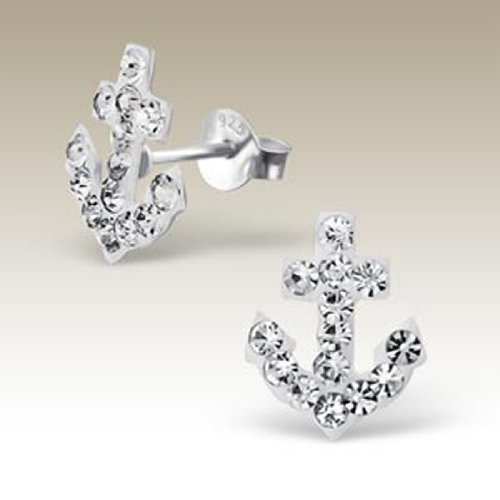 Small Sterling Silver Anchor Stud Earrings White Crystal (E16789)