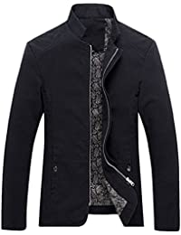 Men's Vintage Banded Collar Zip-Front Lightweigth Cotton Casual Jacket