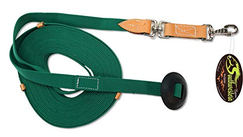 - Southwestern Equine 35' Flat Cotton Web Lunge Line with Bolt Snap & Rubber Stop (35', Emerald)