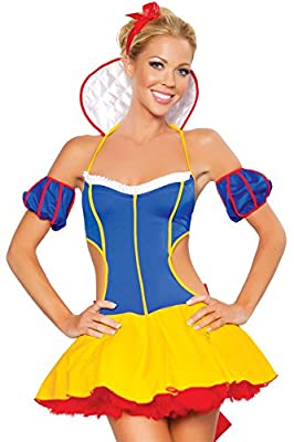 FiveFour Women's Halloween Costume Fantasy Snow White Dress Cosplay Costume