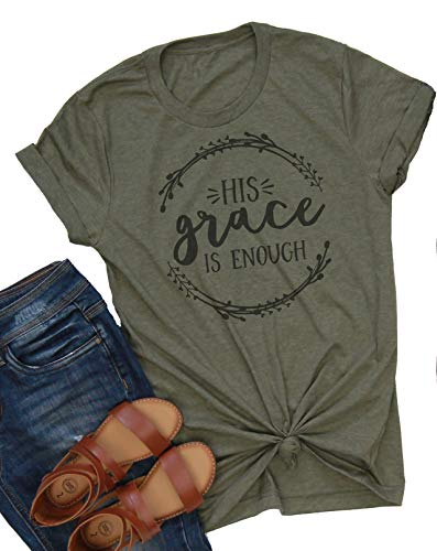 His Grace is Enough Tshirt Women Cute Jesus Christian Faith Shirts Cotton Graphic Tops Blouse (Medium, Green)