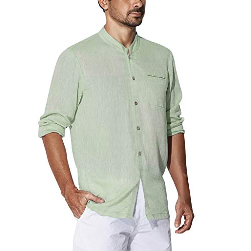 (iHPH7 T Shirts Tops Blouses Solid Plus Size Casual Cotton Long Sleeves Solid Button Down Dress Shirts Men (XXL,Green))