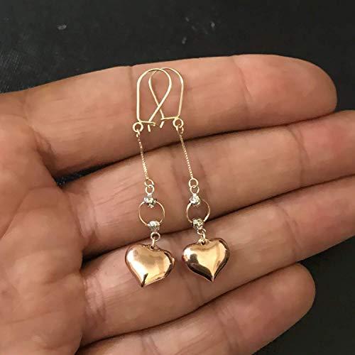 Ladies Real 14k Tri Tone Gold Double Heart Love Vintage Hanging Dangle Earrings
