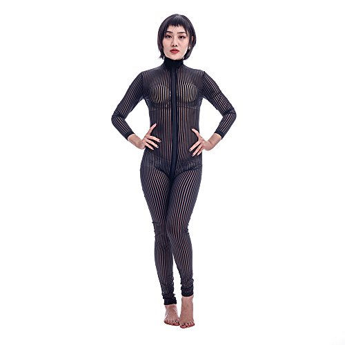 ElsaYX Women's Sexy Stripe Bodysuit Costume with (Stripes Sexy Costumes)