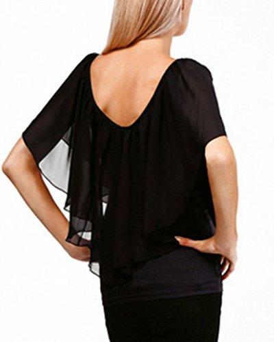 Collo Nero Moda T Tunica Irregolare Tops shirt Camicia V Donna Chiffon Senza Spalline Orlo anOxEU