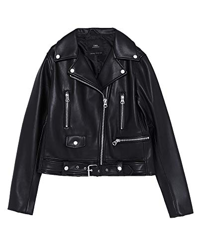 Zara Women Faux Leather Jacket with zips 3046/253 (Medium) for sale  Delivered anywhere in USA