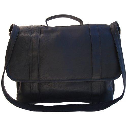 Piel Leather Traditional Flap Portfolio, Black, One Size