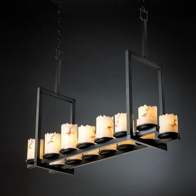 Justice Design Group FAL-8764-12-MBLK LumenAria 14-Light Chandelier - Matte Black Finish with Faux Alabaster Resin Shade, 44