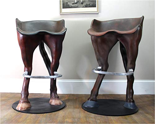 Funny Horse Tail Bar Stool with Foot Rest Custom Painted Western Sold as Pair