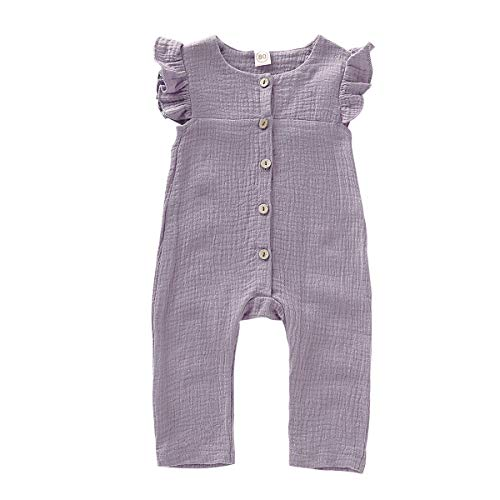 XiaoReddou One Piece Outfits Baby Solid White Rompers with Button Kids Sleeveless Playsuit Jumpsuits Pants Cotton Clothing (Light Purple, 6-12 Months) ()