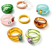 PANTIDE 9Pcs Retro Resin Acrylic Diamond Ring- Vintage Wood Plastic Resin Ring Colorful Index Finger Ring Jewe