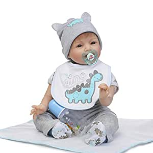 Reborn Doll 21.6 Inch 55Cm Cloth Body Soft Silicone Vinyl Realistic Magnet Pacifier Xmas Gift