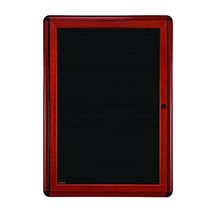 Image of Ghent 2 3/4' x 2' Ovation Letter Board, Black, Cherry Wood Look Finish/Black Corners (OVMCB1-BBK) Changeable Letter Boards