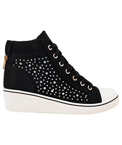 Gem Embellished Canvas Heel Wedge Sneakers (16294-BLK-5)