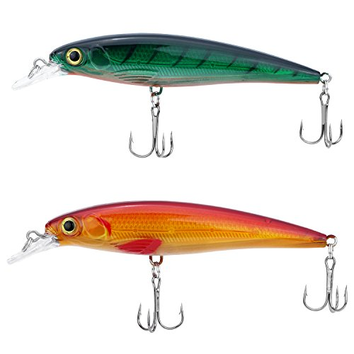 Discover Fish Bass Trout Muskie Minnow Fishing Lures Freshewater Saltwater Topwater 3D Eyes Swimbaits Snook Snapper Catfish Rainbow Fish Flatfish Hard Baits with Gravity Ball 4.5inch 2Pcs/Lot