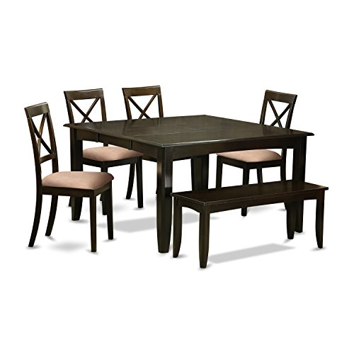 East West Furniture PFBO6-CAP-C 6Piece Dining Set-Table with Leaf & 4 Dinette Chairs Plus on Bench