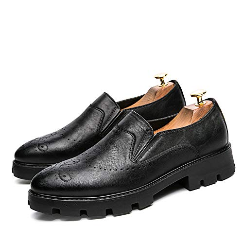 intagliate Men's Scarpe Business Classic Casual da Base Spesse Oxford Scarpe Nero Cricket Fashion AXAU1