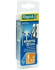 RAPID 5000394 Remaches, 0 W, Plateado, 4x12mm