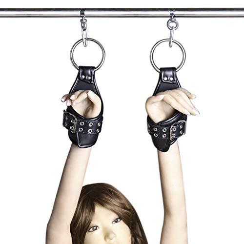 Leather Adjustable Hand & Wrist Braces Straps Leather Sexy Hand Cuff Hanging Door Swing Tie Set ()