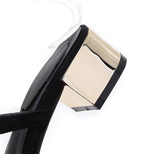 Amoonyfashion Vrouwen Gesp Open Teen Lage Hakken Koe Lederen Stevige Sandalen Zwart