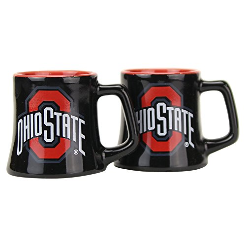 NCAA Full Color Sclupted Mug 2oz Shot Glass 2-Pack (Ohio State Buckeyes)