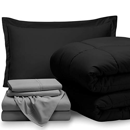 Bare Home Bed-in-A-Bag 5 Piece Comforter & Sheet Set – Twin Extra Long – Goose Down Alternative – Ultra-Soft 1800 Premium – Hypoallergenic – Breathable Bedding Set (Twin XL, Black/Light Grey)