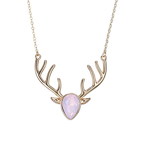 [eManco Gold Statement Deer Antler Cute Animal Pink Cyrstal Pendant Necklace for Women Fashion] (Cat Halloween Costumes For Teenage)