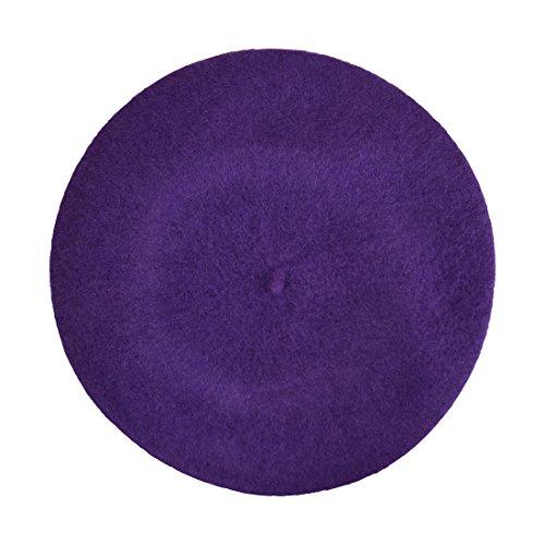 Wool Ladies Winter Beret - Purple (Tam Purple)