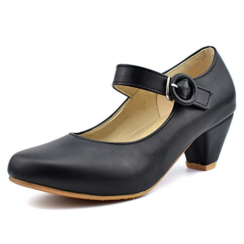 100FIXEO Women Kitten Heel Ankle Strap Mary Jane Pumps Shoes (9 (B) M US,Black) ()
