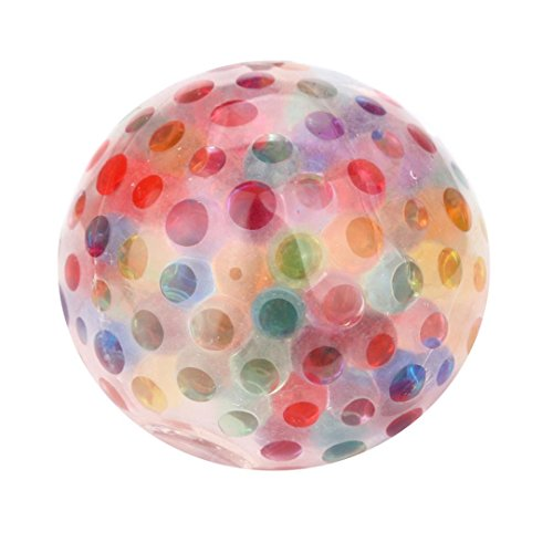 Sacow Stress Reliever Ball, Spongy Rainbow Ball Toys Squeezable Stress Squishy Toy Stress Relief Ball for Fun (Pink)