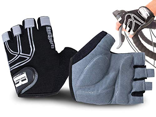 Gloves Cycling Premium (RIMSports Bike Gloves for Men & Women - MTB Gloves w/Microfiber Thumb - Ideal Mountain Biking Gloves & Cycling Gloves - Reflective Biking Gloves - Premium Bicycle Gloves & Riding Gloves (Black, M))