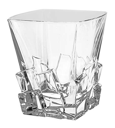 Barski - European Quality Glass - Crystal - Set of 6 - Square Shaped - Double Old Fashioned Tumblers - DOF - 11.7 oz. - with Ice Cubes Design - Glasses are Made in Europe