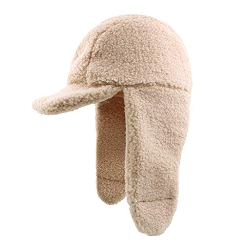 (Fheaven Women Plus Velvet Thick Solid Earmuffs Thermal Winter Trapper Hat Warm Scarf Snow Caps (Beige) )