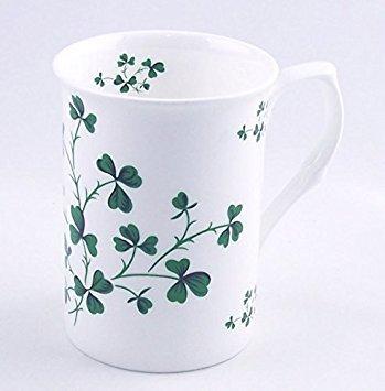 England ChinaFind SYNCHKG088931 Irish Shamrock Chintz Set of Two Fine English Bone China Mugs