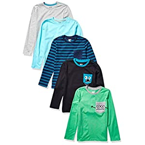 Amazon Brand – Spotted Zebra Boy's Toddler & Kids 5-pack Long-sleeve T-shirts