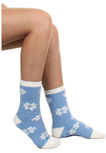 Gilbin 6 Pack Super Soft Toasty Fuzzy Snowflake Holiday Socks, Anti Grip Socks, Size 9-11 by Gilbin (Image #4)