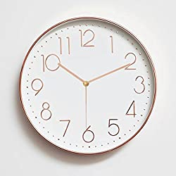 Besplore Silent Wall Clock,Minimalist Silent Sweep,Non Ticking Digital Modern Stylish,12 Inch,Rose Gold