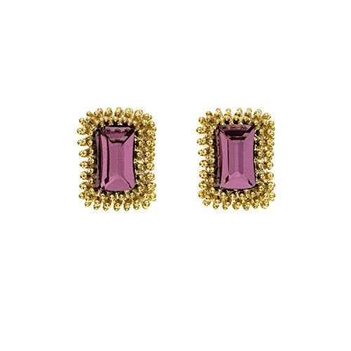 14K Gold Plated Antique Pink Etruscan Rectangular Stud Earrings, Made with Swarovski (Etruscan Antique)