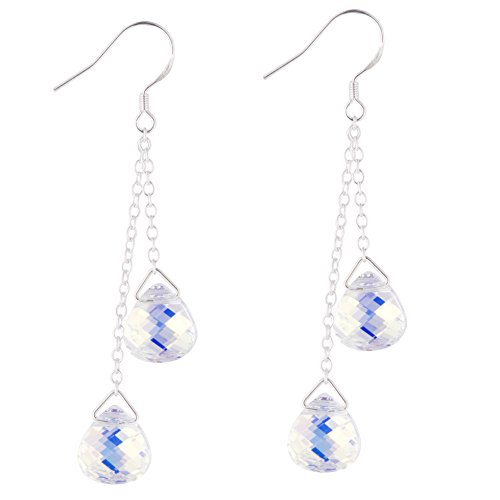 925 Sterling Silver Drop Dangle Long Earrings with Swаrovski Crystаls - Designed and Made in England