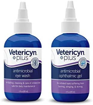 Vetericyn Plus All Animal Eye Care. Includes Antimicrobial Ophthalmic Gel and Eye Wash. Pain-Free Solution for Allergies, Pink Eye, Burning, Itching and Daily Maintenance. (3 Ounce)